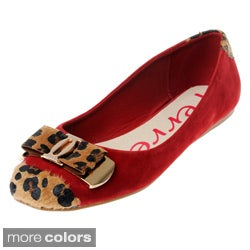 Henry Ferrera Women's Faux Suede Animal Print Trim Flats