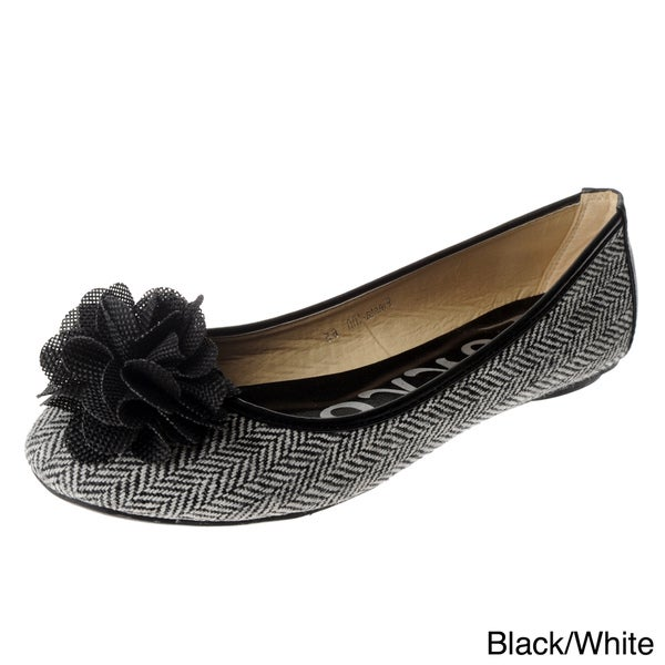 Henry Ferrera Women's Herringbone with Florette Detail Flats