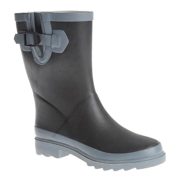 Henry Ferrera Women's Black Colorblocked Mid-Calf Rain Boot