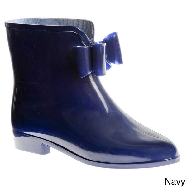 Henry Ferrera Women's Solid Rubber Rain Booties with Bow Detail