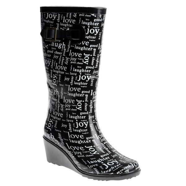 Henry Ferrera Women's Rubber 'Love' Wedge-heel Rain Boots