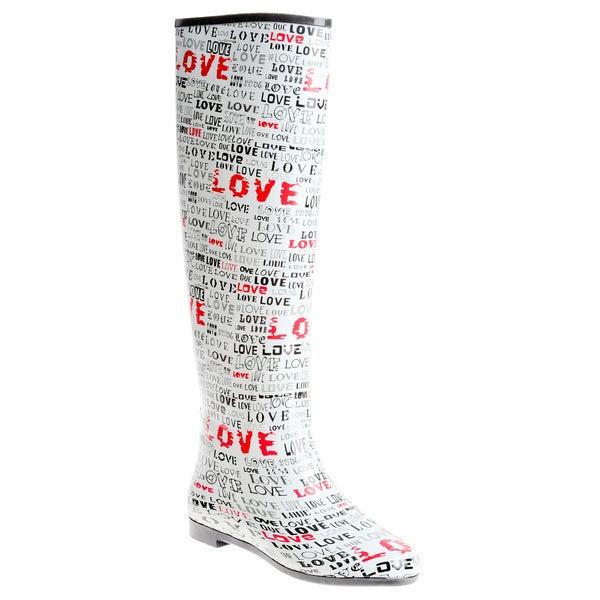 Henry Ferrera Women's Knee-high 'Love' Printed Rubber Rain Boots