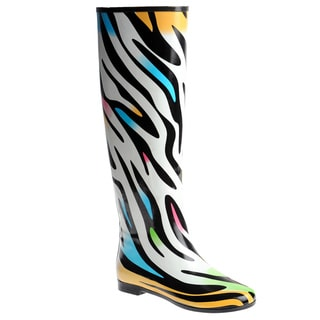 Henry Ferrera Women's Knee-high Colorful Zebra Printed Rubber Rain Boots