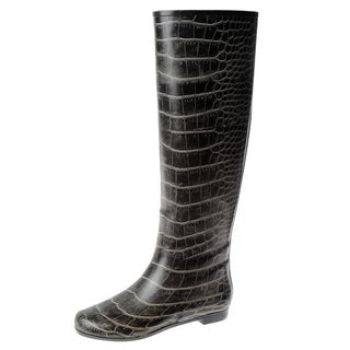 Henry Ferrera Women's Black Crocodile Printed Rubber Knee-high Rain Boots