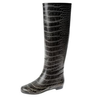 Henry Ferrera Women's Black Crocodile Printed Rubber Knee-high Rain Boots