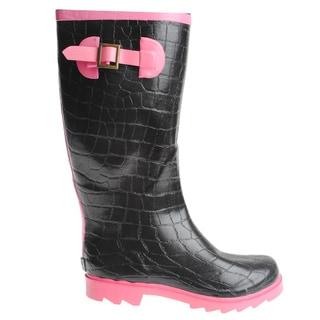 Henry Ferrera Women's Croc Embossed Rubber Rain Boots