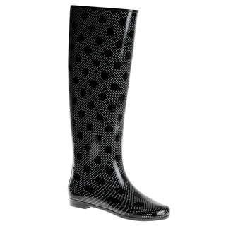 Henry Ferrera Women's Knee-high Polka Dot Printed Rubber Rain Boots