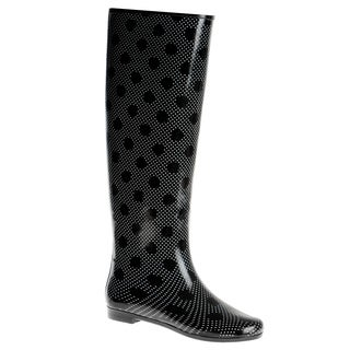 Henry Ferrera Women's Knee-high Polka Dot Printed Rubber Rain Boots