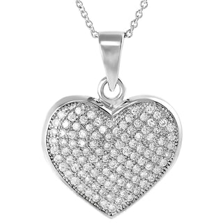 Tressa Collection Sterling Silver Cubic Zirconia Heart Necklace