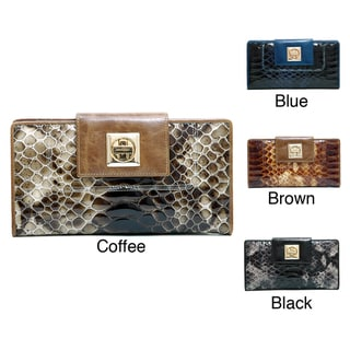 Anais Gvani Women's Leather Snakeskin Texture Checkbook Wallet