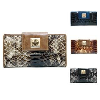 Anais Gvani Women's Leather Snakeskin Texture Checkbook Wallet