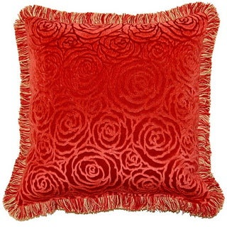 Veronica Terracotta 17-inch Fringed Throw Pillows (Set of 2)