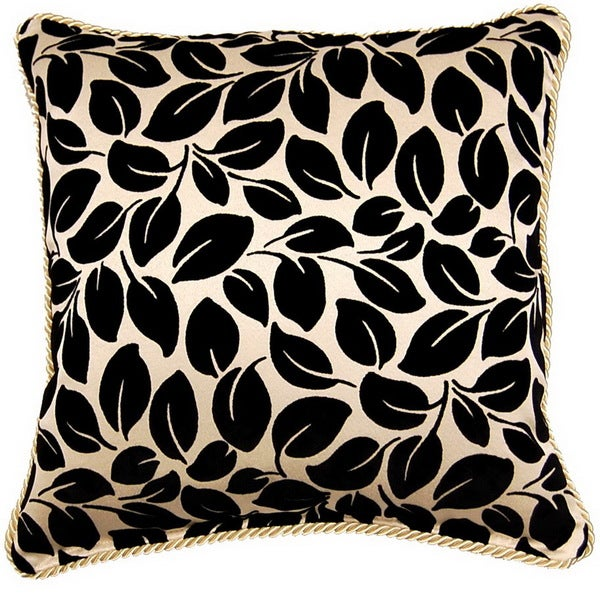 Leaves Ebony 17-inch Braid Pillows (Set of 2)