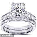 14k Gold Moissanite and 1/3ct TDW Pave-set Diamond Bridal Ring Set (G-H, I1-I2)