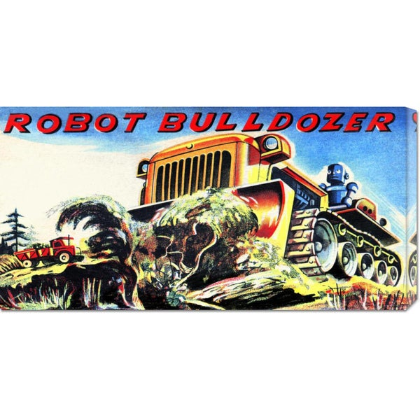 Big Canvas Co. Retrobot 'Robot Bulldozer' Stretched Canvas Art