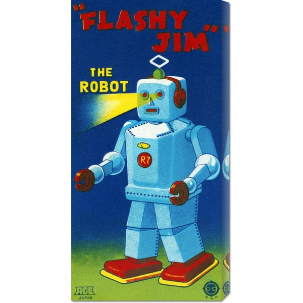 Big Canvas Co. Retrobot 'Flashy Jim - The Robot' Stretched Canvas Art