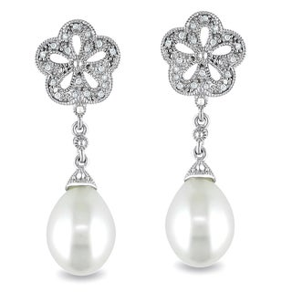 Miadora Sterling Silver Pearl and Diamond Accent Earrings (9.5-10 mm)