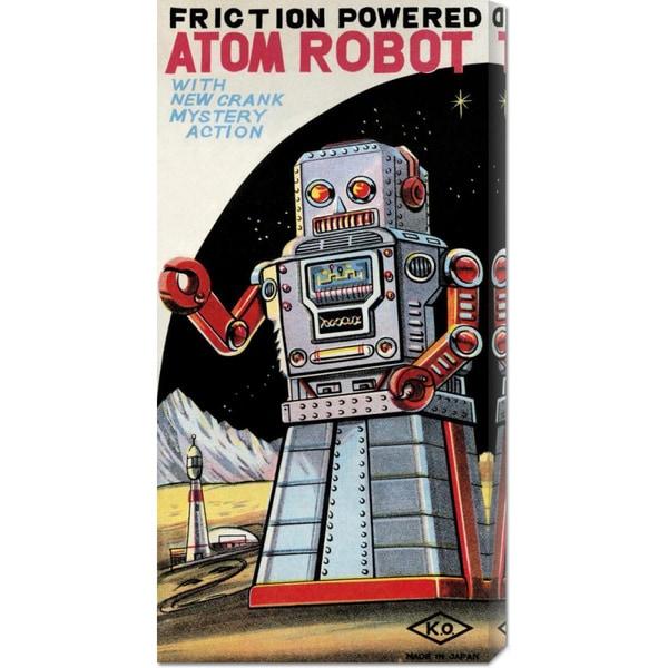 Retrobot 'Friction Powered Atom Robot' Stretched Canvas Art