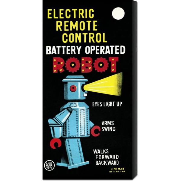 Retrobot 'Electric Remote Control Battery Operated Robot' Stretched Canvas Art