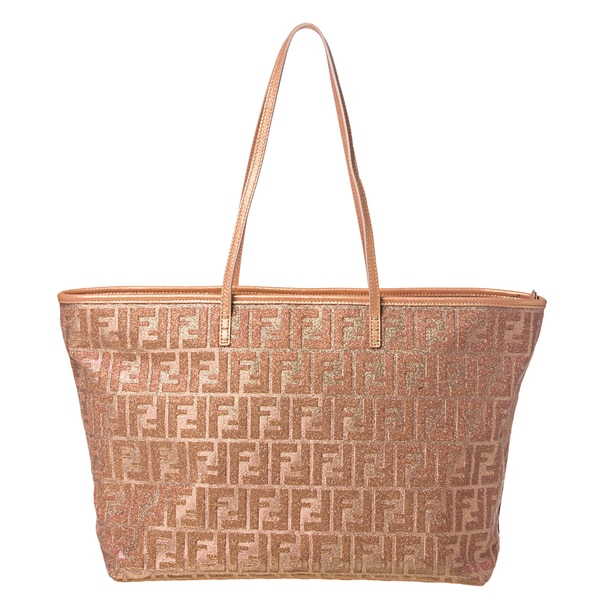 Fendi Lurex Zucca Metallic Roll Tote Bag