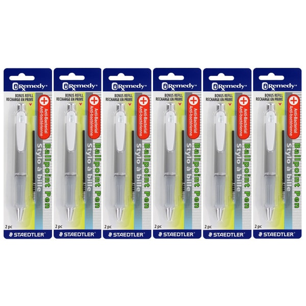 Staedtler iRemedy Anti-Bacterial Ballpoint Pens with Bonus Refill (Pack of 6)