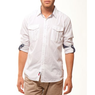 191 Unlimited Men's White Convertible Sleeve Woven Shirt
