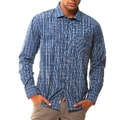 191 Unlimited Men's Slim Fit Blue Plaid Button-down Shirt