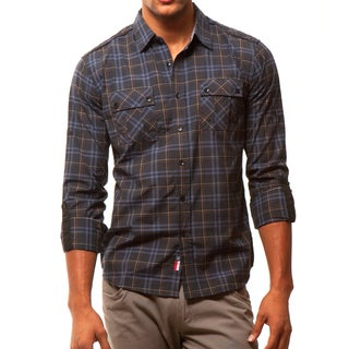 191 Unlimited Men's Black Plaid Two-pocket Shirt