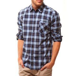 191 Unlimited Men's Blue Plaid Slim Fit Shirt