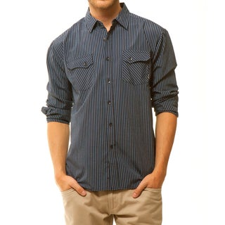 191 Unlimited Men's Blue Two-pocket Woven Shirt