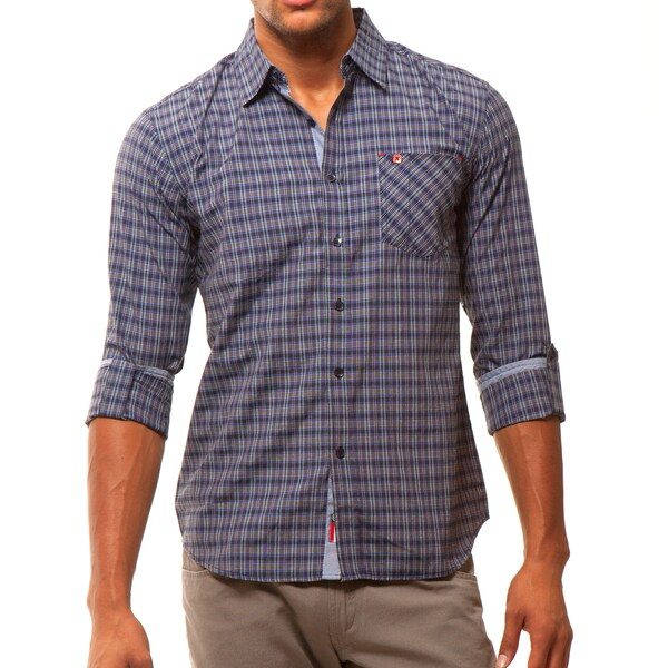 191 Unlimited Men's Casual Blue Plaid Woven Shirt