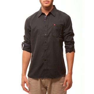 191 Unlimited Men's Black Plaid Woven Shirt