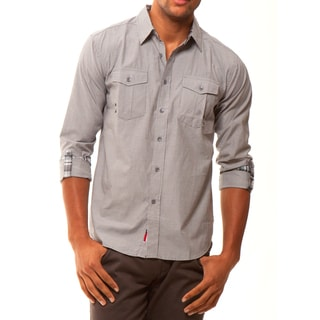 191 Unlimited Men's Grey Convertible Sleeve Woven Shirt