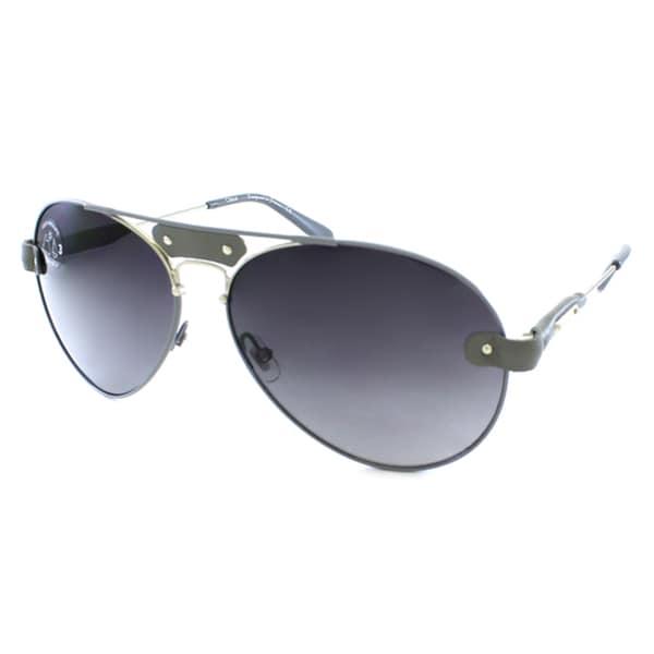 Chloe Women's CL 2104 C01 Leather Accent Aviator Sunglasses