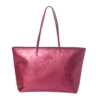 Fendi Perforated Metallic Fuchsia Leather Roll Tote Bag