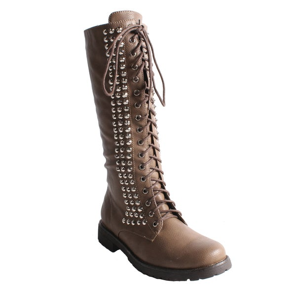 Neway by Beston Women's 'Camila-01' Taupe Lace-up Combat Boots