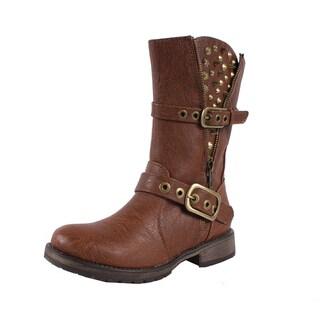 Breckelle by Beston Women's 'Rocker' Tan Mid-calf Combat Boots