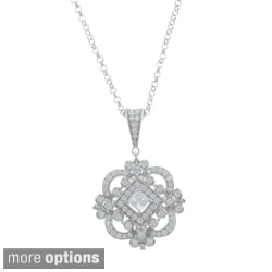 Sterling Silver Cubic Zirconia Ornate Medallion Pendant