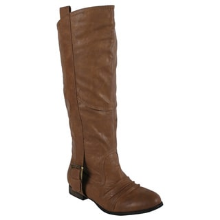Liliana by Beston Women's 'Marsala' Tan Riding Boots