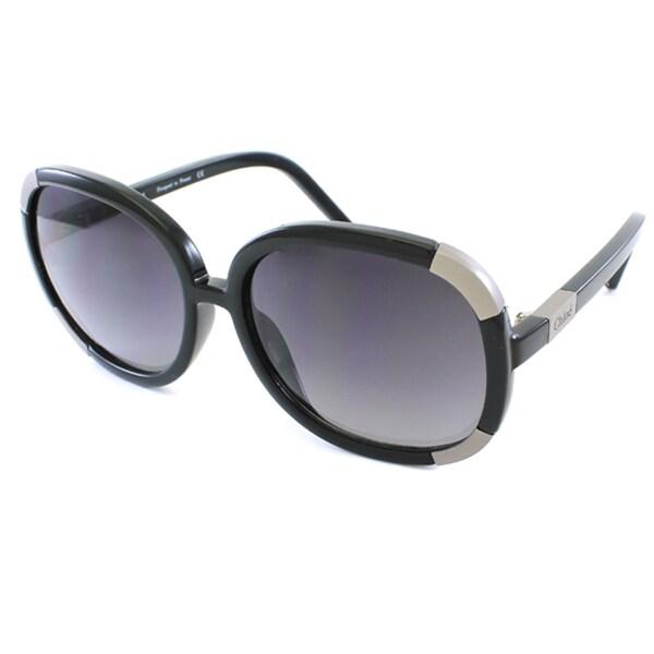Chloe Women's Black Oversized Round Sunglasses