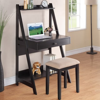 Black Finish Laptop Writing Desk and Stool