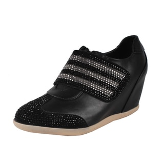 Liliana by Beston Women's 'Kris' Black Rhinestone Accented Sneakers