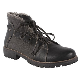 Pinky Women's 'Atlanta' Black Lace-up Ankle Boots