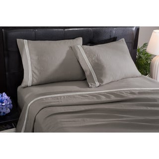 Roxbury Park Baratto Graphite With Ivory Trim Linen Sheet Set