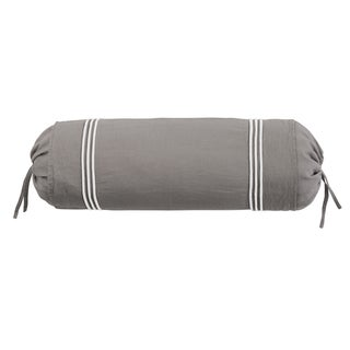 Roxbury Park Baratto Graphite With Ivory Trim Neck Roll Decorative Pillow