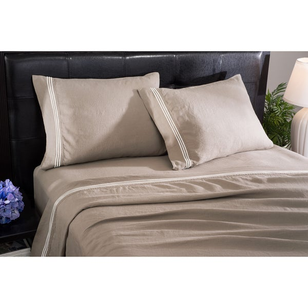 Roxbury Park Barrato Linen Prarie With Ivory Trim Sheet Set