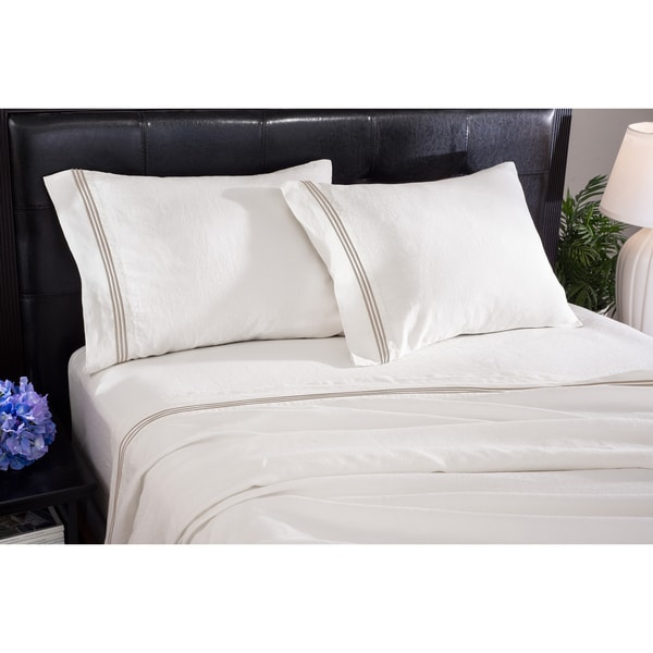 Roxbury Park Baratto Linen Ivory Prairie Sheet Set (As Is Item)