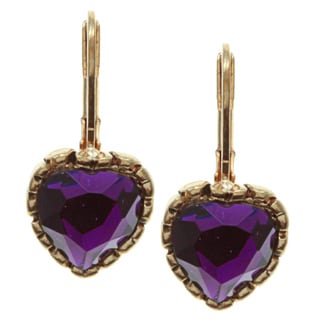 Betsey Johnson Purple Drop Heart Earrings