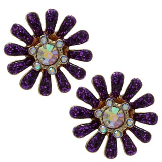 Betsey Johnson Purple Flower Drop Earrings