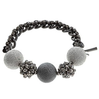 Kenneth Cole Silvertone Crystal Beaded Bracelet